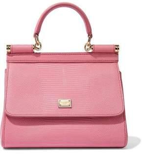 Dolce & Gabbana Sicily Lizard-Effect Leather Shoulder Bag