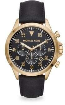 Michael Kors Gage Goldtone Chronograph Leather Strap Watch