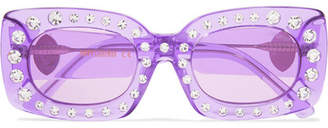 Poppy Lissiman - Crystal Beth Square-frame Acetate Sunglasses - Lavender