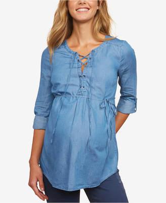 Motherhood Maternity Chambray Lace-Up Shirt