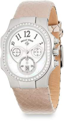 Philip Stein Teslar Women's Classic Diamond and Leather Chronograph Strap Watch