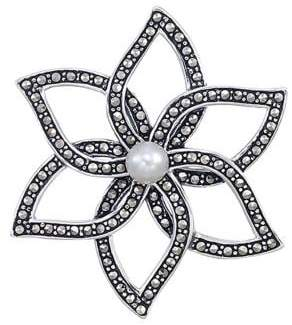 Lord & Taylor Sterling Silver and Marcasite Flower Brooch