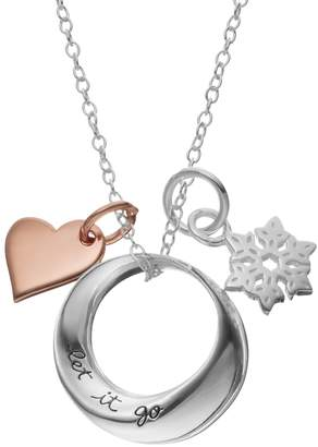 Disney Disney's Frozen Sterling Silver Two Tone Snowflake & Heart Charm Pendant Necklace
