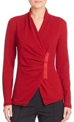 Lafayette 148 New York Cashmere Gathered Asymmetrical Sweater