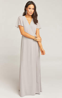 Show Me Your Mumu Noelle Flutter Sleeve Wrap Dress ~ Dove Grey Chiffon