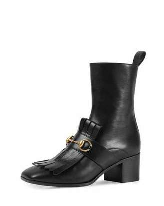 Gucci Polly Kiltie Leather Ankle Boot, Nero