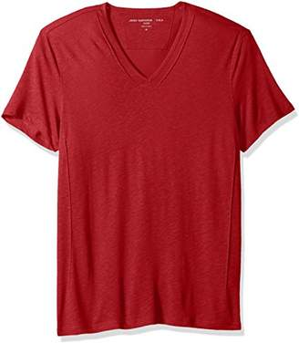 John Varvatos Men's Short Slleve Knit V-Neck with Pintuck Details