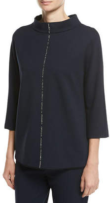 Escada Crystal-Trim 3/4-Sleeve Pullover