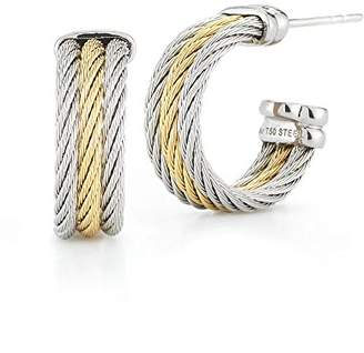 Alor Women's Grey And Yellow Cable Hoop Small