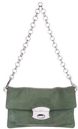Prada Suede Chain-Link Flap Shoulder Bag