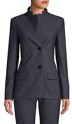 Piazza Sempione Women's Micro-Pattern Mandarin Collar Jacket