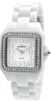 Peugeot Women's Swarovski Crystal Bezel White Acrylic Watch