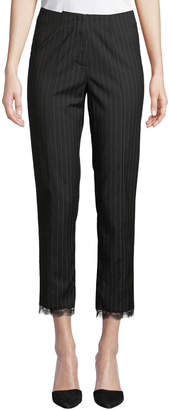 Nicole Miller New York Menswear-Style Pinstriped Lace-Cuff Pants