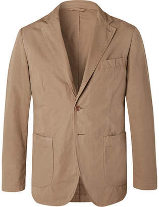 Aspesi Tan Slim-fit Unstructured Garment-dyed Cotton Blazer - Beige