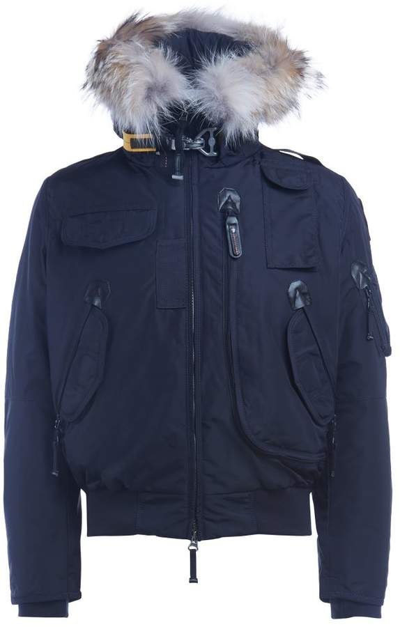 Parajumpers Down-filled Nylon Gobi Blue Bomber With Trimmed Fur Hood - ShopStyle Jackets