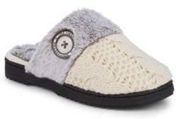 Dearfoams Faux Fur-Trimmed Slippers
