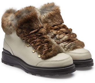 Woolrich Hiker Leather Ankle Boots with Rabbit Fur