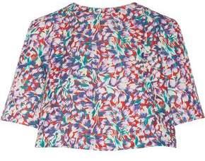 Suno Floral-Print Cotton-Blend Faille Top