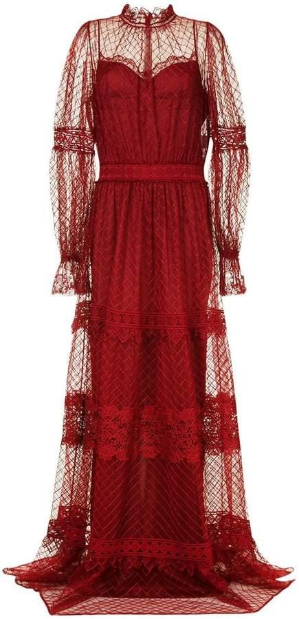 Copurs long fine lace gown