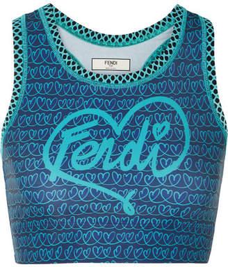 Fendi Printed Mesh-paneled Stretch Sports Bra