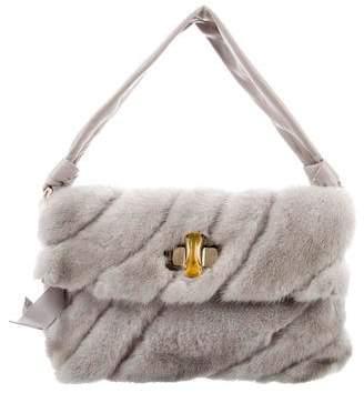 Nina Ricci Fur & Leather Shoulder Bag