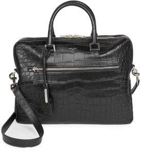 Saint Laurent Crocodile Embossed Leather Briefcase