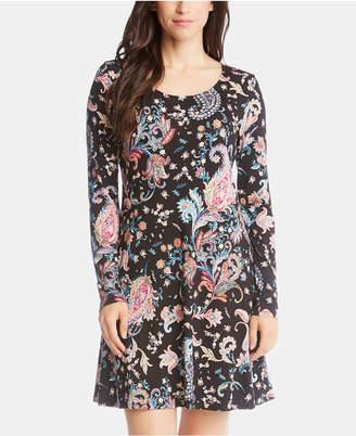 Karen Kane Printed Long-Sleeve A-Line Dress