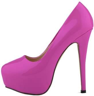 baa640961f0 CAMSSOO Women s Fashion Round Toe Stiletto Slip On Platform Pumps High  Heels Shoes 10 ...