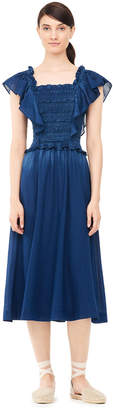 Rebecca Taylor La Vie Smocked Tissue Denim Dress