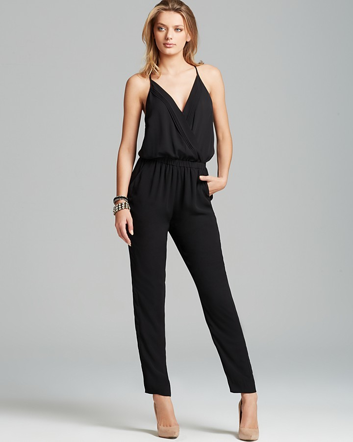 AQUA Jumpsuit - Pleated Crossover