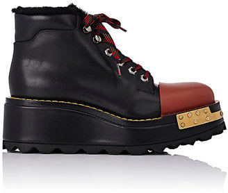 Prada Women's Cap-Toe Platform Hiking Boots-BLACK $1,300 thestylecure.com