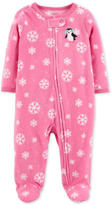 Carter's Baby Girls Snow-Print Penguin Footed Coverall