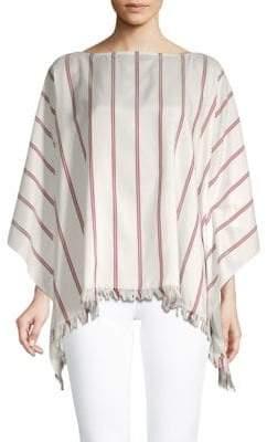 Brunello Cucinelli Striped Silk Poncho Top
