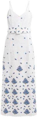 Rebecca De Ravenel Floral Embroidered Cotton Dress - Womens - White Multi