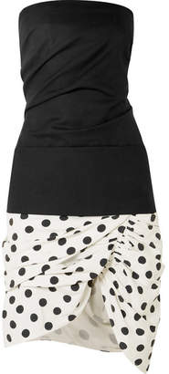 Jacquemus Strapless Piqué And Polka-dot Cotton-poplin Mini Dress - Black