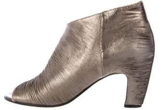 Maison Margiela Leather Peep-Toe Booties Leather Peep-Toe Booties
