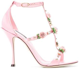 Dolce & Gabbana rose caged heel sandals
