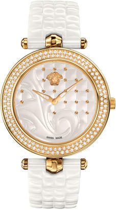 Versace 40mm Vanitas White Ceramic Watch w/ Diamonds