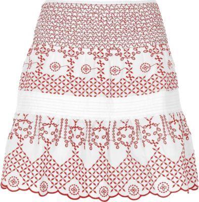 River IslandRiver Island Womens White and red broderie mini skirt