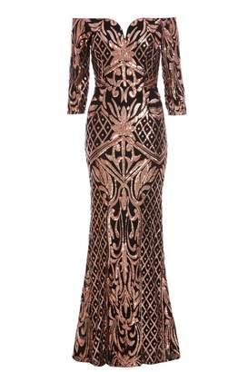 Quiz Black And Rose Gold Bardot Maxi Dress