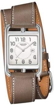 Hermes Watches Cape Cod Stainless Steel& Leather Double-Wrap Watch