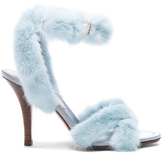 Valentino Mink Fur Ankle Strap Heels