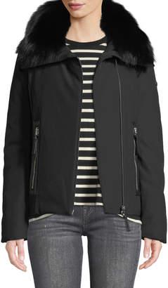 d94d536b1635 Derek Lam 10 Crosby Down A-Line Parka Short Jacket with Fox Fur Trim