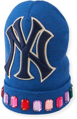 fae990f3 Gucci Men's Jewel-Trim New York Yankees-Applique Beanie Hat