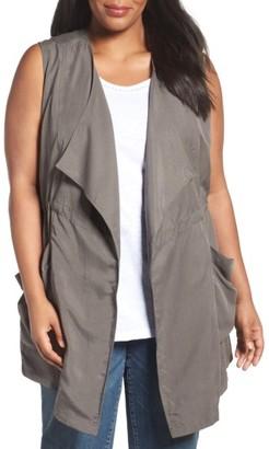 Plus Size Women's Caslon Drape Front Vest $89 thestylecure.com