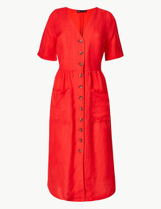 Marks and Spencer Linen Blend Button Front Waisted Midi Dress