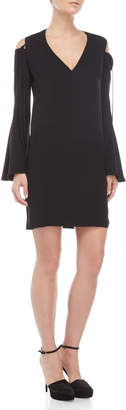 Derek Lam Black Cold Shoulder Bell Sleeve V-Neck Dress