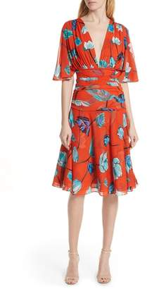 Diane von Furstenberg Flutter Sleeve Cinch Waist Dress