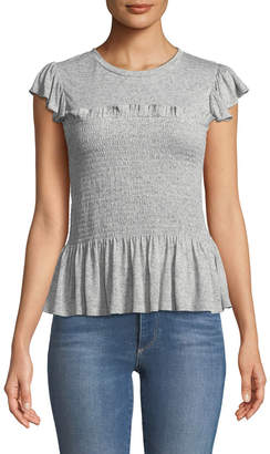 Rebecca Taylor Smocked Short-Sleeve Ruffle Jersey Top