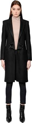 Pierre Balmain Wool Coat With Satin Lapels